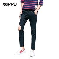 Reimmu Ripped Jeans Men Quần Hot Sale Nam Quần Áo Slim Fit nam Jeans Thời Trang Mới Thương Hiệu Quần Áo Màu Đen Quần Jeans Giản Dị Bán