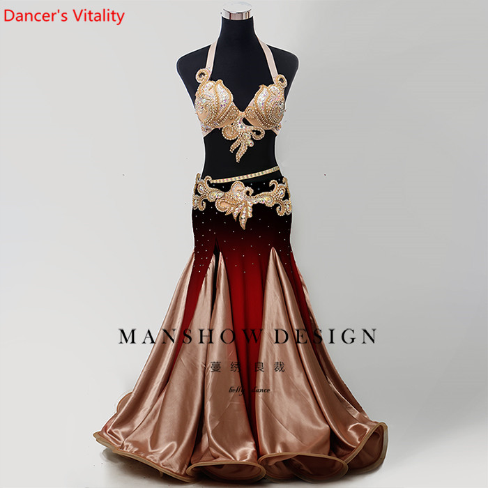 2019 New Belly Dance Set Sexy Autumn And Winter Winter New High-End Custom Wild Waist Chain Gradient Dress Set