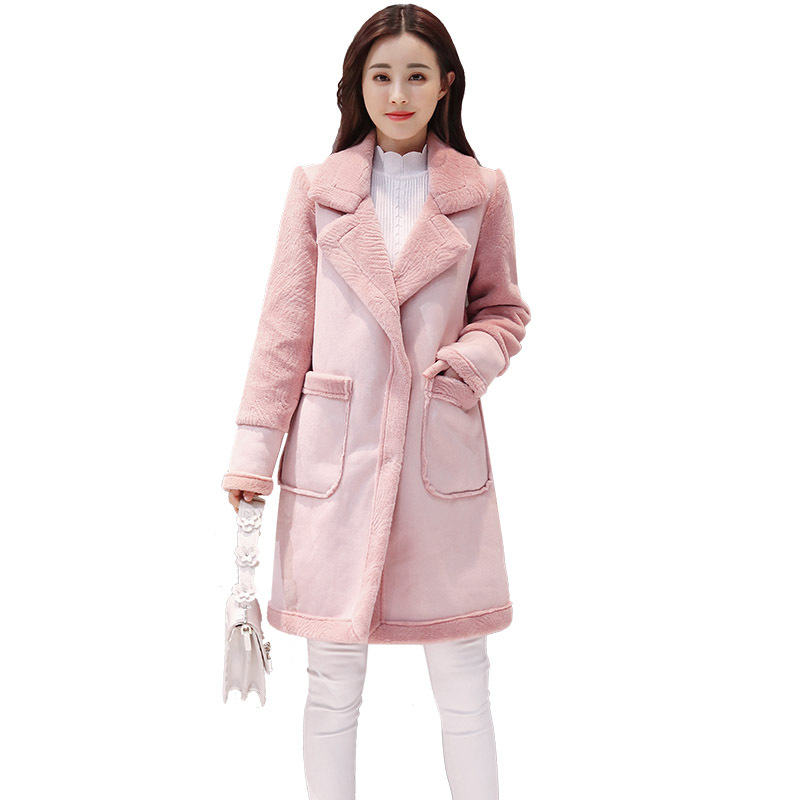 2018 New Korean Version Of The Loose Winter Pu   Leather   Women's Long Section Thickening Plus Velvet Deer   Suede     Leather   Jacket
