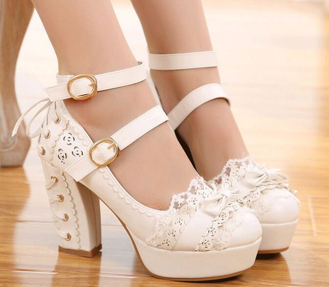 Women High Heel Lolita Pumps Laced Up Heel Design New 2017 Ladies Bow Shoes Chunky Heel Ankle Buckles Japanese Style spring 2017 new japanese beaded lace bow laser detachable shoes soft sister student lolita shoes cosplay women high heel pumps
