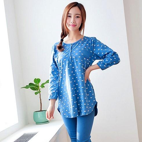 Mulheres/Lady 100% Algodão Dos Desenhos Animados Sleepwear Pijama conjunto de manga Longa Camisola Bonito pijama mujer invierno 021