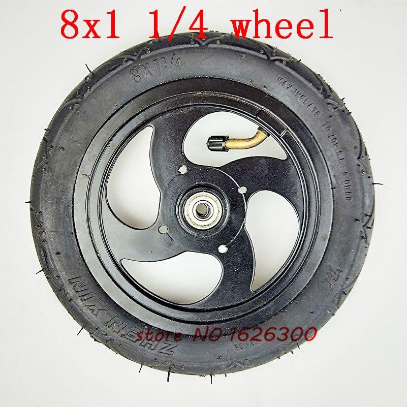 Tamanho 8x1 1/4 pneu 32mm Largura Inflado Com Tubo de Liga de Alumínio Hub cabe Kickscooter Scooter Tamanho Da Roda roda 8