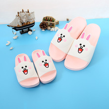 New Causal Parents-child Slippers Soft PVC Cute Cartoon Rabbit Pattern Barefoot Home Beach Shoe for Mommy Baby Bathroom Indoor