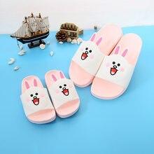 0daeb0e3154e5 Nouveau casual parents-enfants pantoufles doux PVC mignon dessin animé lapin  modèle pieds nus maison plage chaussure pour maman .