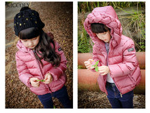 2017 Fashion Girls winter jacket Child Girl down jackets Coat  Parkas Woven hooded infant down jacket Kids Down Jackets 2T-6T