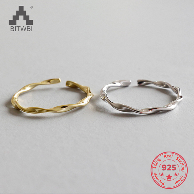 925 sterling silver mobius wire ring wavy open mouth finger ring knuckles