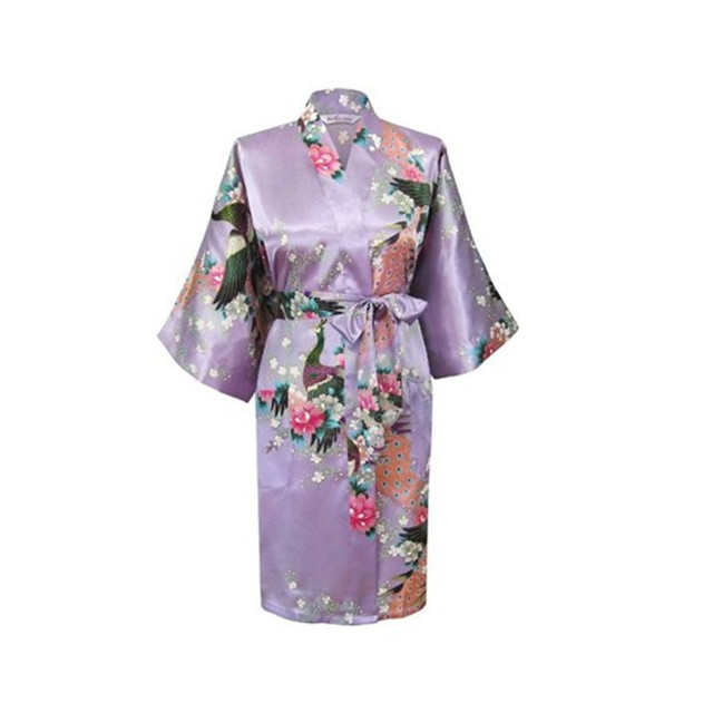 Lavender Fashion Women s Peacock Kimono Bath Robe Nightgown Gown Yukata  Bathrobe Sleepwear With Belt S M L XL XXL XXXL KQ-7 83e7fcd2e