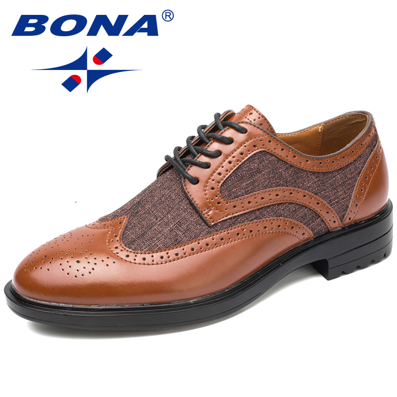 BONA New Arrival Fashion Style Men formal Shoes Lace Up Me Business Shoes Round Toe Men Wedding Shoes Comfortable Men Flats new arrival pointed toe men wedding shoes men s lace up breathable business casual shoes fashion man hairstylist shoes size38 44