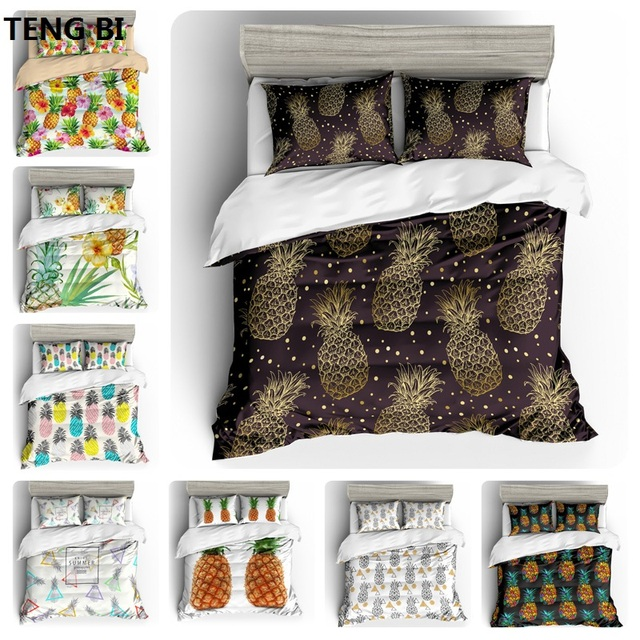 New sleek minimalist style bedding digital printing fruit pattern bedding set United States Australia EU country size 3PCS