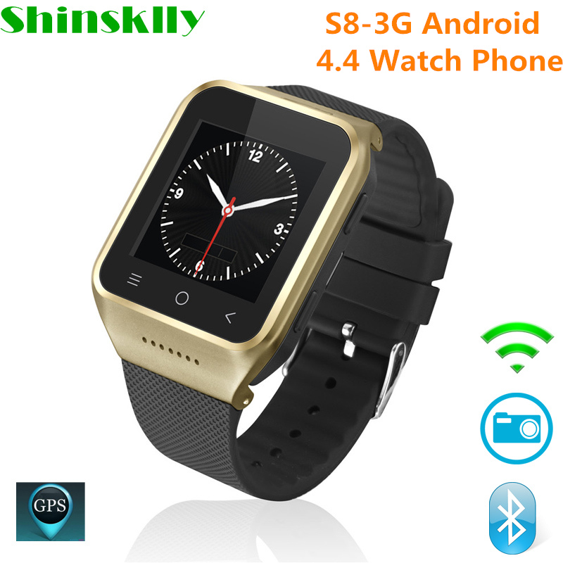 S8-3G Android 4.4 Watch Phone Bluetooth Smart Watch MTK6572 Dual Core GPS 2.0MP Camera WCDMA WiFi MP3 MP4 Smartwatch PK Q18 KW18 цена
