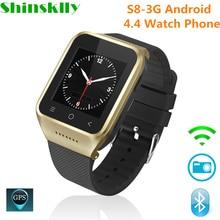S8-3G Android 4.4 Watch Phone Bluetooth Smart Watch MTK6572 Dual Core GPS 2.0MP Camera WCDMA WiFi MP3 MP4 Smartwatch PK Q18 KW18