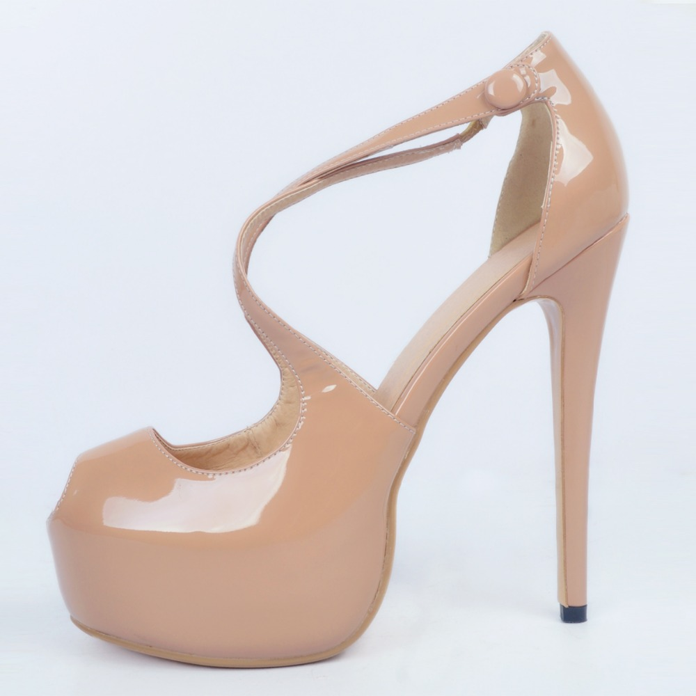 ФОТО High-quality Women Sandals Nice Platform Peep Toe Thin Heels Sandals Nice Nude Shoes Woman Plus US Size 4-15