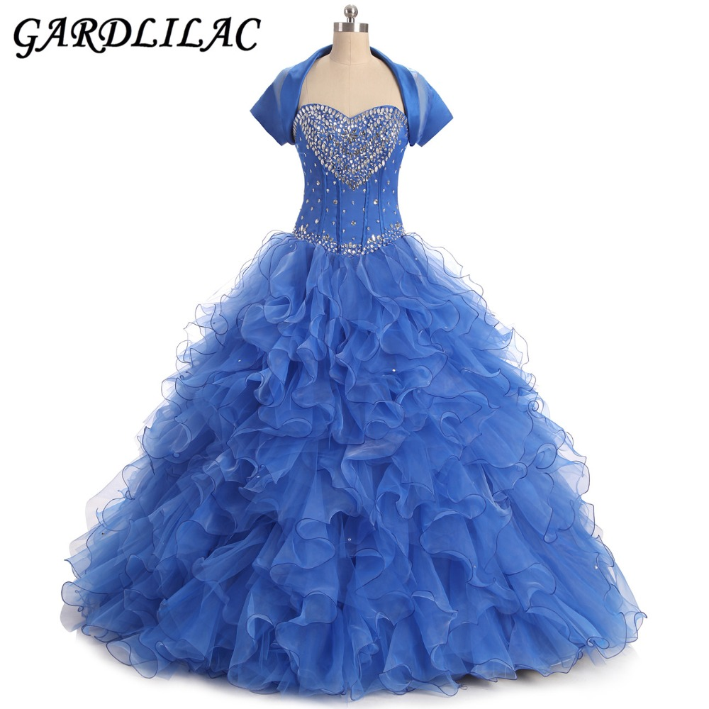 Robes de Soirée Bleu Quinceanera Robes 2017 Sweetheart Quinceanera Robes avec Veste Perles Tulle Custom Made