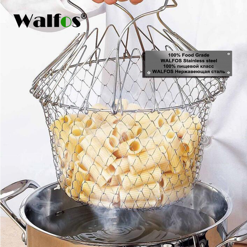 Stainless Steel Expandable Fry Chef Basket Kitchen Colander steamer Mesh Basket Strainer Net Cooking Steam Rinse Strain Basket