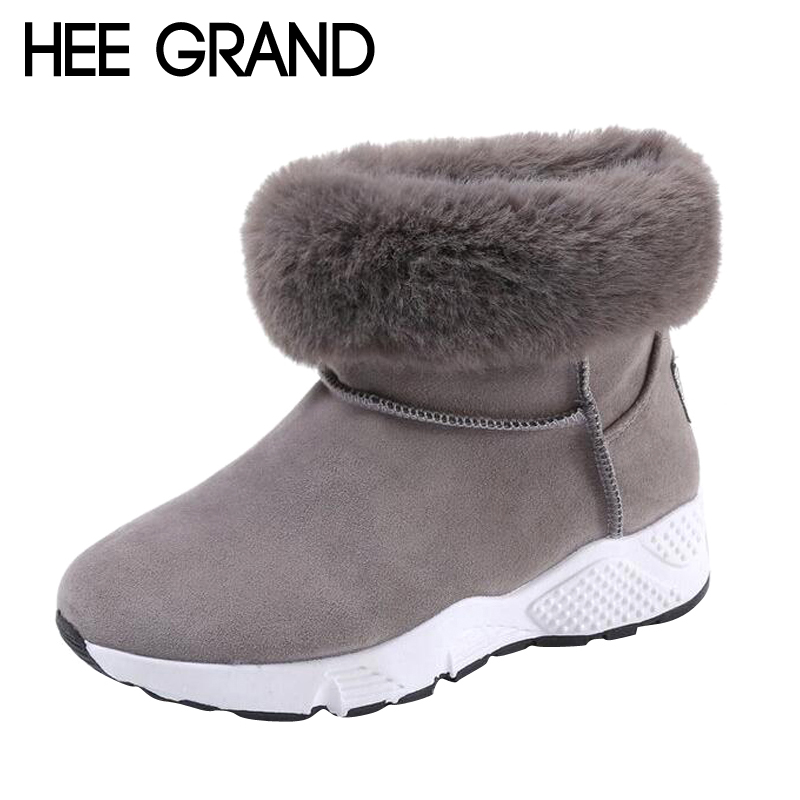 HEE GRAND Flock Vamp Winter Snow Boots with Plush Women Shoes Casual Warm Winter NEW Woman Fashion Snesker Boots XWX6555