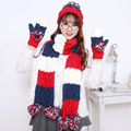 Winter Women Warmer Thicken Scarf Wrap Hat Set Knitted Knitting Girls Collars Skullcaps patchwork scarf set scarf cap FREE