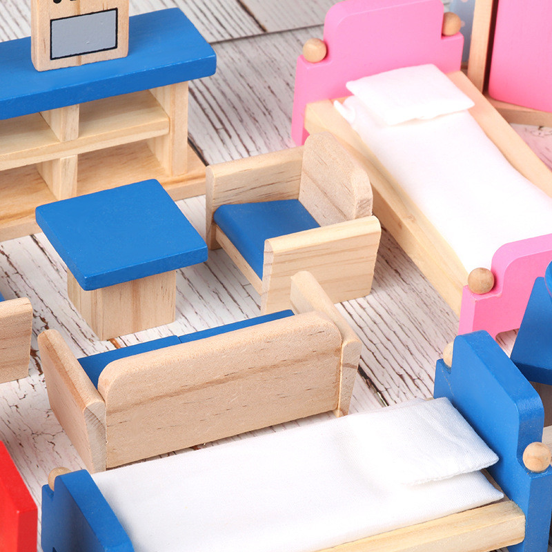 Image 3 - Miniature Furniture for dolls house Wooden dollhouse Furniture sets Educational Pretend Play toys Children kids girls gifts-in Furniture Toys from Toys & Hobbies