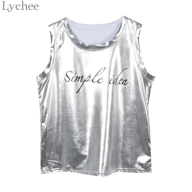 Lychee Harajuku Letter Print Laser Summer Women Tank Top Sleeveless PU Camis Causal Sexy Tank Tops Female