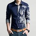 Dragón patrón imprimir camisa de manga larga camisa de moda de primavera camisa de hombre