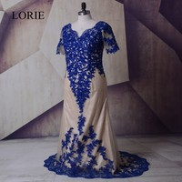 Plus Size Mother Of The Bride Dresses 2018 LORIE Royal Blue Evening Gown Formal Long Wedding Party Dresses Lace Appliques