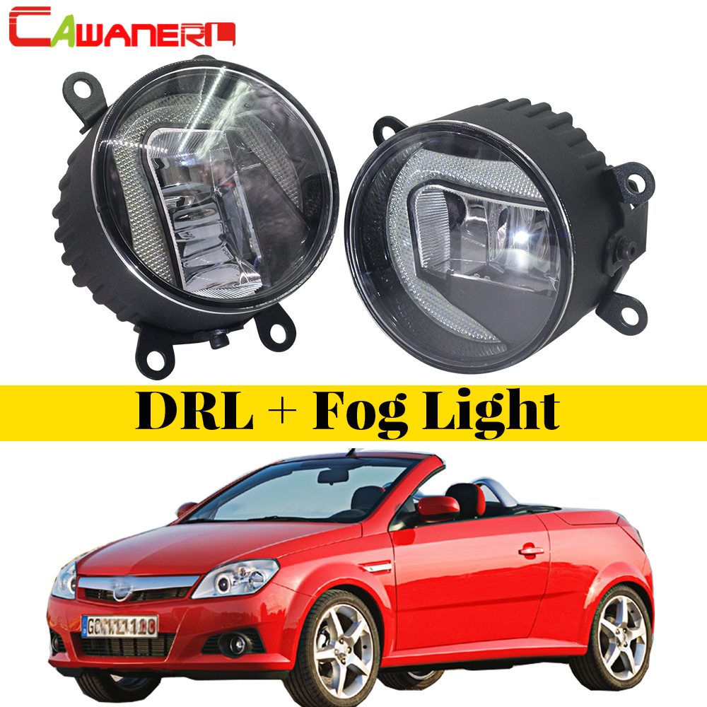 Cawanerl For Opel Tigra TwinTop Convertible 2004 2005 2006 Car Styling LED Fog Light DRL Daytime Running Lamp White 12V 2 Pieces cawanerl for toyota highlander 2008 2012 car styling left right fog light led drl daytime running lamp white 12v 2 pieces