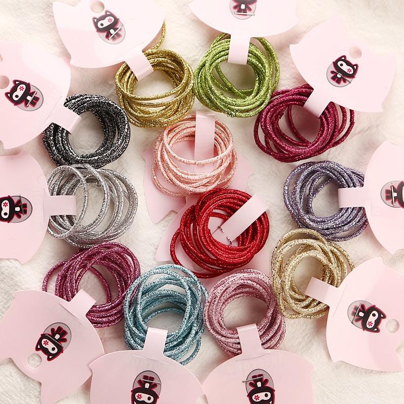 12 цветов 10 шт./карта 3 см Детские резинки для волос аксессуары Оптовая Продажа Новая мода конфеты цвета резинки для волос для девочек Дети