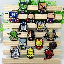 High quality 50pcs Anime Avengers Hero cartoon Soft Decoration Flat Back Accessories Shoe Charms DIY Gadgets Trinkets kids gift