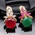 Модная Ожерелье Позолоченный Создан Ruby & Изумрудный Кулон Ювелирные Изделия Для Женщин 4 цвета