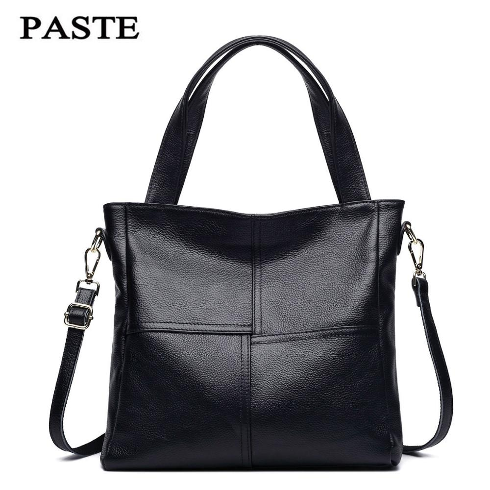 2016 New Winter Cowhide Genuine Leather Handbag Stitching Style Shoulder Tote Bag Luxury Women Messegner Bags Real Leather PT19 luxury genuine leather bag fashion brand designer women handbag cowhide leather shoulder composite bag casual totes
