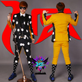 Novo dos homens de moda estilo coreano ternos 3 peças conjunto masculinos cantor DJ imprimir Blazer calças roupas desempenho traje Dancewear