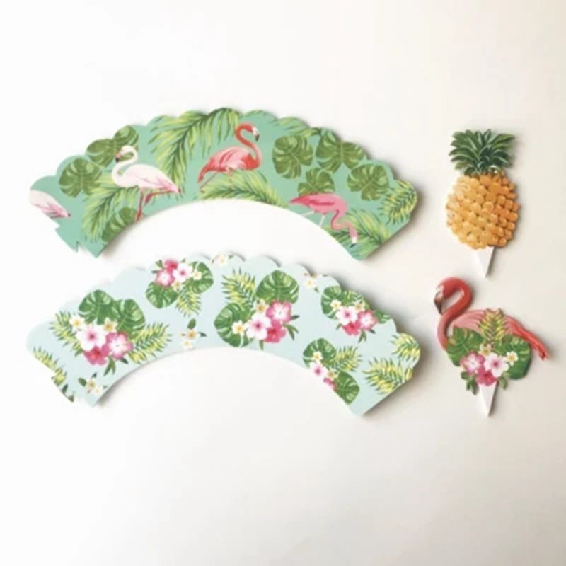 24pcs/set Cake Decoration Flamingo/Pineapple Cupcake Wrappers +Cake Topper Summer Party Baby Shower Birthday Party Supplies