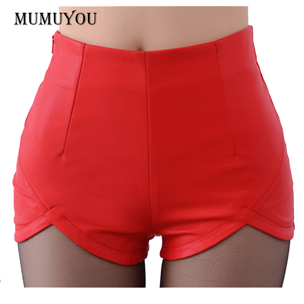Brand New Women Lady's Sexy UP   Shorts   Slim Faux Leather High Waist Hot   Short   Pants Winter Autumn Thicken 907-093