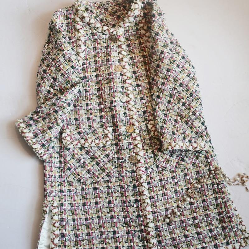 New  tweed long cloth coat female small sweet wind tweed jackets coat Women