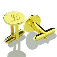 Personalized Gold Plated Silver Initial Letter Cufflinks Wedding Groomsmen Cufflinks Gift For Man