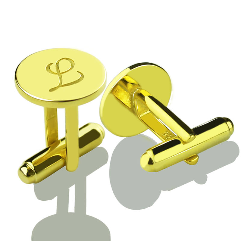 Personalized Gold Color Silver Initial Letter Cufflinks Wedding