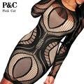 2016 Sexy Summer Женщины Черное Кружево Bodycon Платье Геометрический Узор С Длинным Рукавом Midi Бинты Платье для Женщин Vestidos