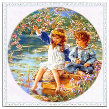 Needlework DIY DMC 14CT unprinted Cross stitch kits For Embroidery Cute Boys And Girls Hawthorn Beauty Home Decor