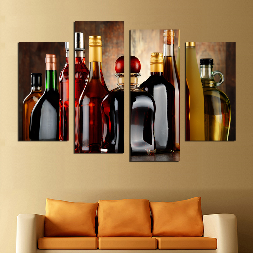 wine wall art decorating dining room | HD Printed modern wine bottle painting wall picture for ...