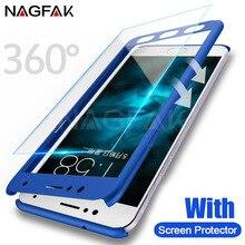 NAGFAK Tam Kapak xiaomi için telefon kılıfı mi 5 6 mi 5 S 5 S artı Kapak Ekran Koruyucu Cam Kapak Için Xiao mi mi 6 mi 5 telefon...