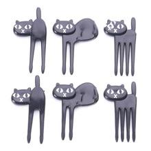 Новинка, 6 шт., мини-вилка для животных, Фруктовые палочки, милая мультяшная детская вилка в форме кошки, бэнто, Ланч-бокс, декоративные аксессуары, черный цвет