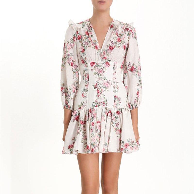 2019 Runway Designer Floral Print Elegant Woman Mini Dresses Deep V Neck High Waist Hollow Out