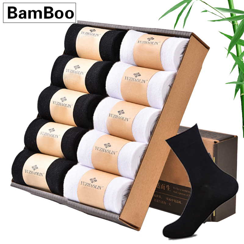 10 Pairs/lot Men Bamboo Socks Men Brand New Casual Business Clothe Socks Men's Cotton & Bamboo Fiber Long Winter Sock For Gifts