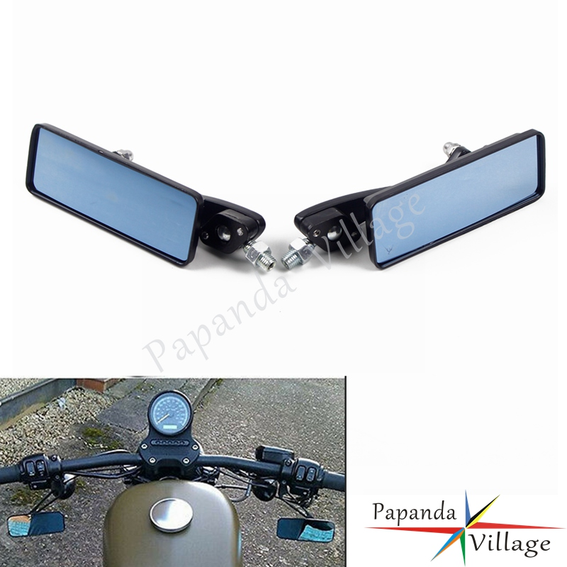 Universal Black Motorcycle 10mm Rectangle Rearview Mirror Custom Side Mirrors For Harley Touring Honda Yamaha Kawasaki Choppers