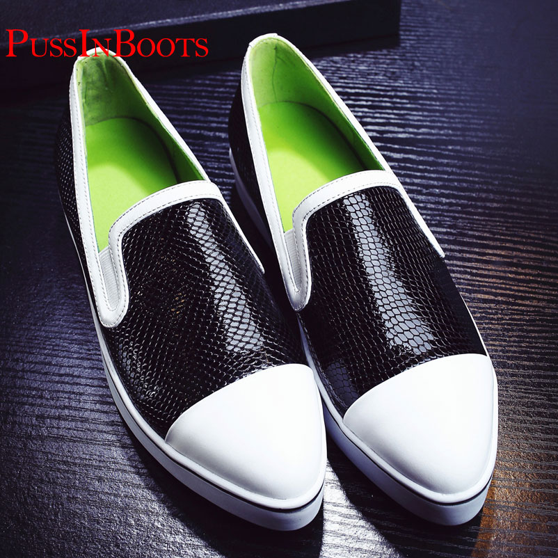 ФОТО Flat Shoes Women Genuine Leather Woman Snake Shoes Famous Ladies brand Loafer Fashion Shoes For Women Snake Shoes Drop Shipping