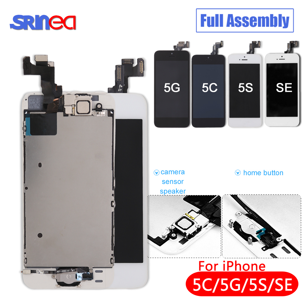 Black/White Full Assembly LCD Display Digitizer For IPhone 5 S C Se AAA LCD Touch Replacement Screen I Phone 5S 5C No Dead Pixel