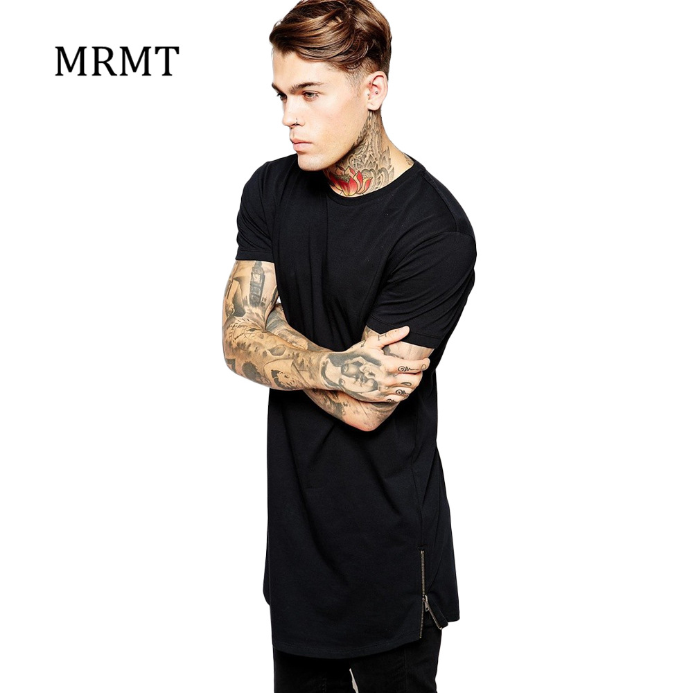 2019 MRMT Mens Zipper Long T-Shirt Black Men's Cotton T Shirts Tee Tops Man Clothing Extra Long T Shirt For Male Brand Tee Shirt