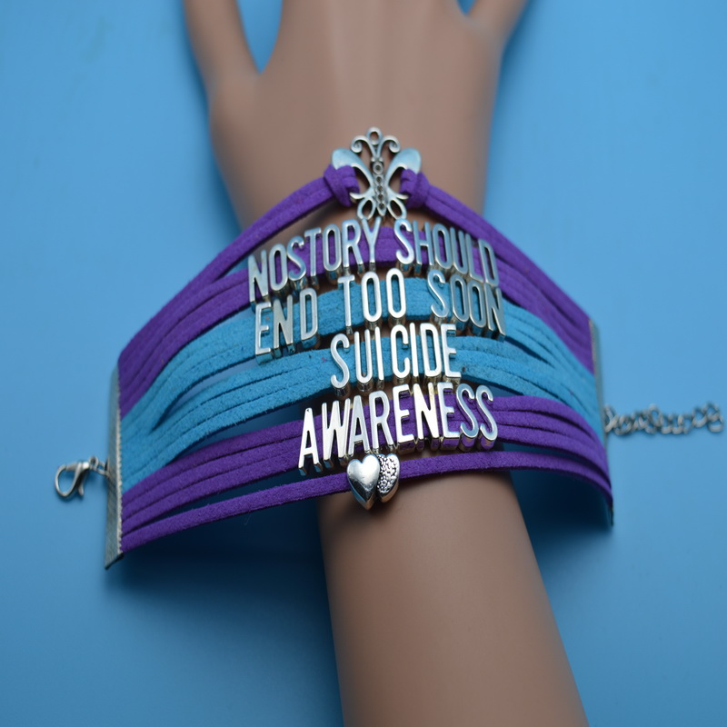Butterfly Double Heart Nostory Should End Too Soon Suicide Awareness Cancer Bracelet Multi Layers Suede Velvet Customize Bangles
