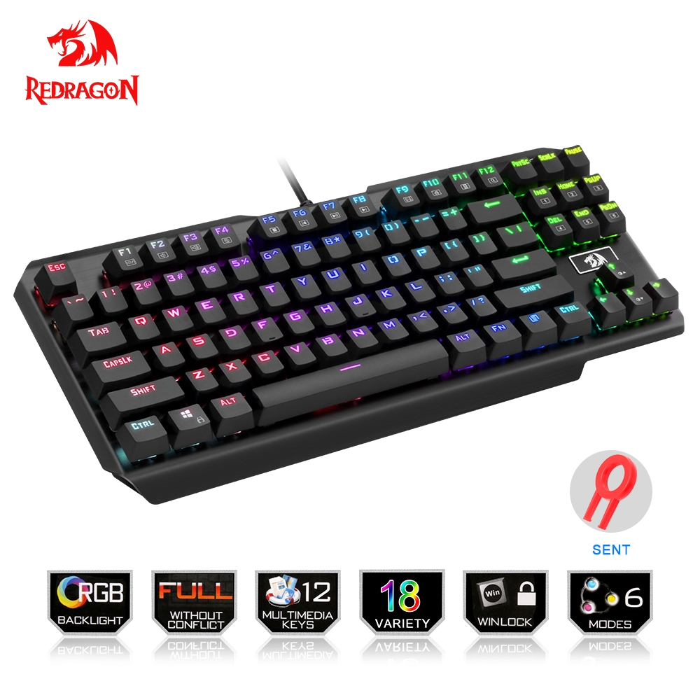 цена на Redragon USB mechanical gaming keyboard ergonomic RGB LED backlit keys Full key anti-ghosting 87 keys wired PC Computer Game