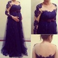 Sexy Purple Empire Long Sleeve Lace Evening Dress Party for Wedding Pregnant Women Maternity Formal Prom Gowns Dresses