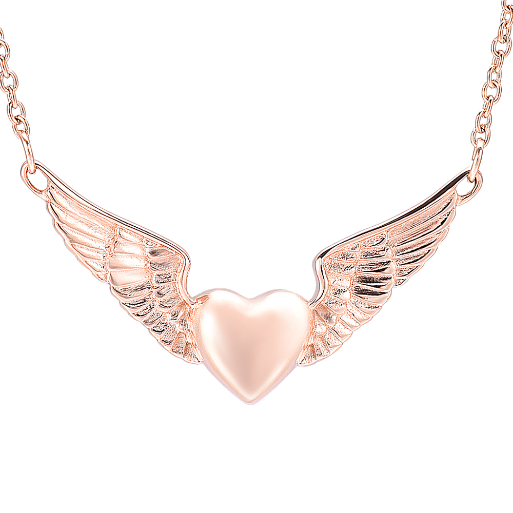 IJD11730 Stainless Steel Angel Wings Heart Cremation Necklace for Ashes Keepsake Memorial Urn Jewelry
